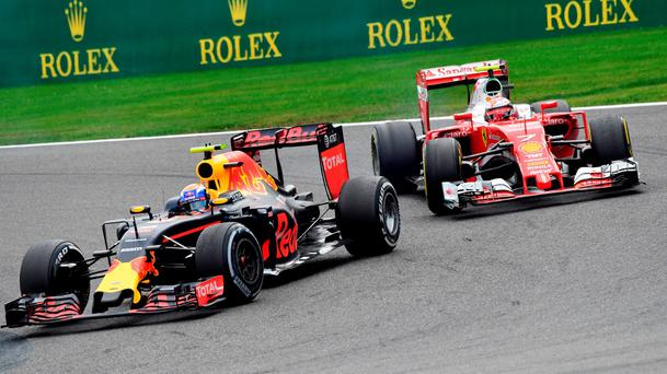 Red Bull driver Max Verstappen of the Netherlands, left, steers his car during the Belgian Formula One Grand Prix in Spa-Francorchamps