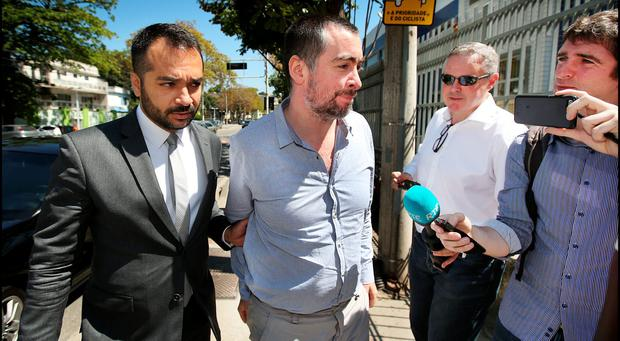 Kevin Mallon and his legal representative Franklin Gomez arriving at the Fan and Special Events Court Hearing in Rio de Janeiros. Photo: Steve Humphreys