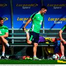 Robbie Keane, centre, and Shane Long, left