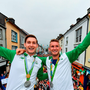 Paul O'Donovan and Gary, right, as they arrive home
