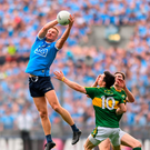Dublin's Ciarán Kilkenny catches the ball ahead of Kerry's Paul Murphy and David Moran during Sunday's All-Ireland SFC semi-final at Croke Park. Pics: Sportsfile