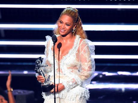 Beyonce accepting one of her eight awards at the MTV Video Music Awards. Photo: Charles Sykes