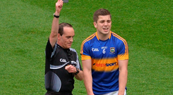 Referee David Coldrick shows the black card to Robbie Kiely of Tipperary during the All-Ireland Semi-Final game against Mayo. Photo: Sportsfile