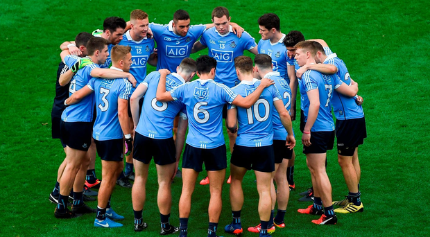 The Dublin players in their team huddle before victory over Kerry. Photo: Sportsfile