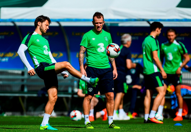 (l-r) Harry Arter and Glenn Whelan pictured during squad training in Abbotstown, Dublin, yesterday.