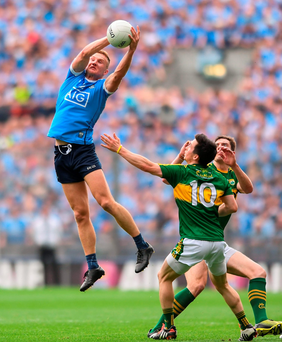 Dublin's Ciarán Kilkenny catches the ball ahead of Kerry's Paul Murphy and David Moran during Sunday's All-Ireland SFC semi-final at Croke Park. Photo: Sportsfile