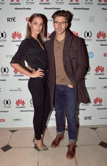 Host Darren Kennedy with model Thalia Heffernan