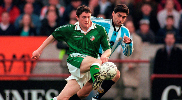 Robbie Keane in action against Argentina's Roberto Ayala during his home international debut at Lansdowne Road in 1997. Photo: Sportsfile
