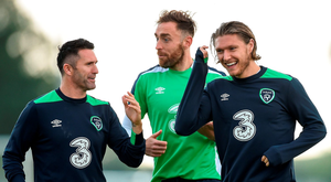 Robbie Keane with Richard Keogh and the in-demand Jeff Hendrick during yesterday's training session in Abbotstown Photo: David Maher/Sportsfile