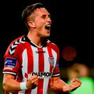 Aaron McEneff of Derry City celebrates his team's victory following the SSE Airtricity League Premier Division game between Shamrock Rovers and Derry City at Tallaght Stadium in Tallaght, Co Dublin. Photo by Seb Daly/Sportsfile