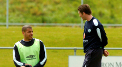 Robbie Keane and Steven Reid during an Ireland training session in Malahide in 2005. Photo: Sportsfile