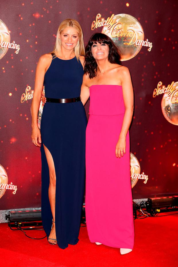 Presenters Claudia Winkleman (R) and Tess Daly arrive for the launch of 'Strictly Come Dancing 2016' at Elstree Studios on August 30, 2016 in Borehamwood, England. (Photo by Chris Jackson/Getty Images)