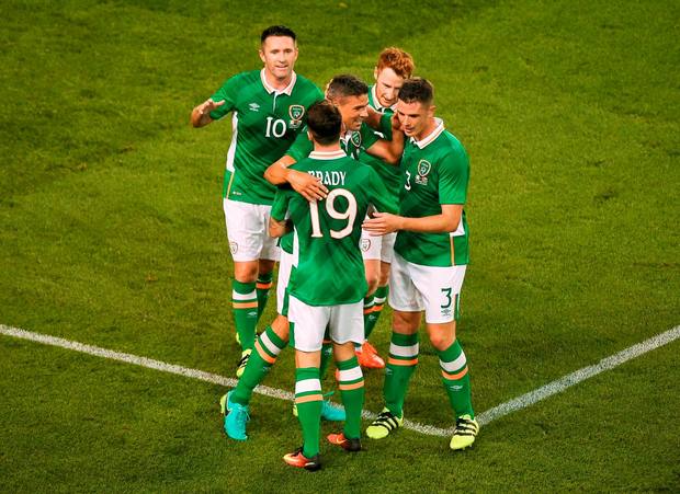 Republic of Ireland celebrate after their third goal. Photo: Daire Brennan/Sportsfile