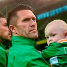 Robbie Keane of the Republic of Ireland with his son Hudson prior to the Three International Friendly game between the Republic of Ireland and Oman at the Aviva Stadium in Lansdowne Road, Dublin. Photo by David Maher/Sportsfile