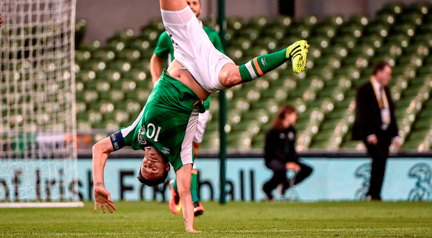 Robbie Keane celebrates after scoring his 68th and final goal for Ireland. Photo: David Maher/Sportsfile