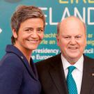 Commissioner Margrethe Vestager and Michael Noonan. Photo: Mark Condren