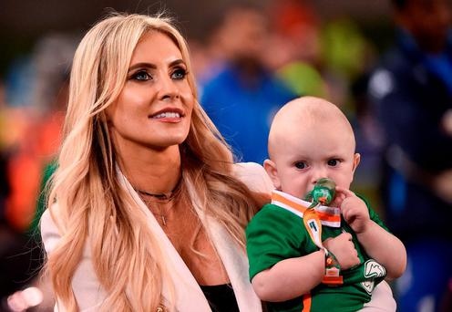 Robbie Keane's wife Claudine with their son Hudson during the Three International Friendly game between the Republic of Ireland and Oman at the Aviva Stadium in Lansdowne Road, Dublin. Photo by David Maher/Sportsfile