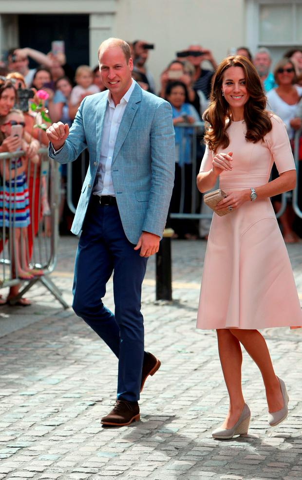 The Duke and Duchess of Cambridge meet the public as they visit Truro Cathedral at the start of a day-long tour of Cornwall. Picture: Steve Parsons/PA Wire