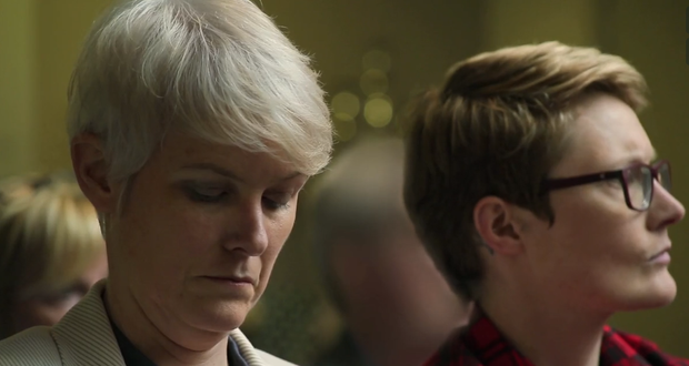 Suzanne and Maria as they are about to bid on a two-bedroom house. Photo: RTE