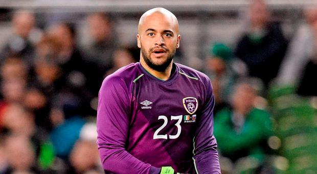 Darren Randolph, Republic of Ireland, puts his gloves on as he comes onto the field as a replacement for team-mate Rob Elliot. 3 International Friendly, Republic of Ireland v Slovakia. Aviva Stadium, Lansdowne Road, Dublin. Picture credit: Seb Daly / SPORTSFILE