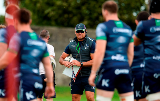 Pat Lam keeps an eye on his Connacht players during training ahead of their return to Pro12 action. Photo by Sam Barnes/Sportsfile