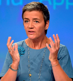 European Commissioner Margrethe Vestager, who delivered the EU's ruling on Apple's tax affairs here Photo: Eric Vidal/Reuters