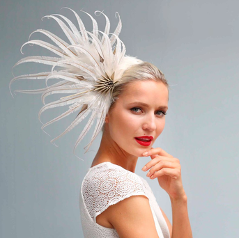 Model Teodora Sutra wearing a headpiece design from Davina Lynch Photo: Sasko Lazarov/Photocall Ireland