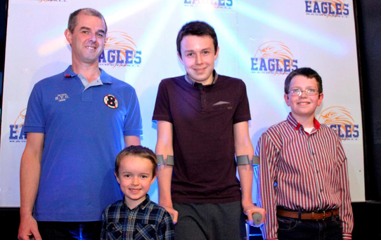 Alan Hawe with his sons Ryan (6), Liam (13) and Niall (11)
