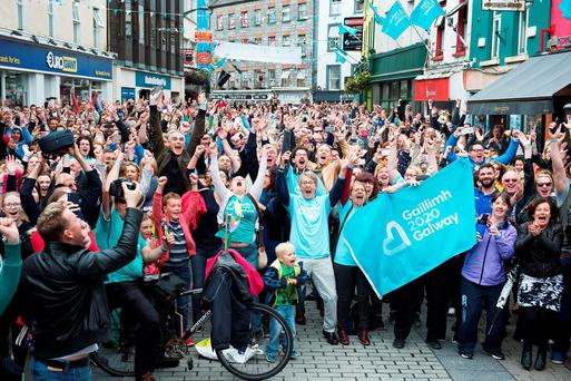 A delirious crowd welcomed the decision in Galway Photo: Andrew Downes