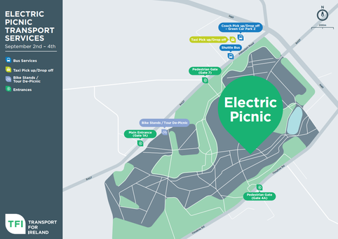 A map of the public transport drop-offs at Electric Picnic. Photo: Transport for Ireland