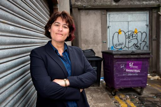 Marianne Jauncey, director of a medically supervised injection centre in Sydney visits Abbey Cottages in Dublin's city centre where drug paraphernalia is discarded on the street. Photo: Tony Gavin