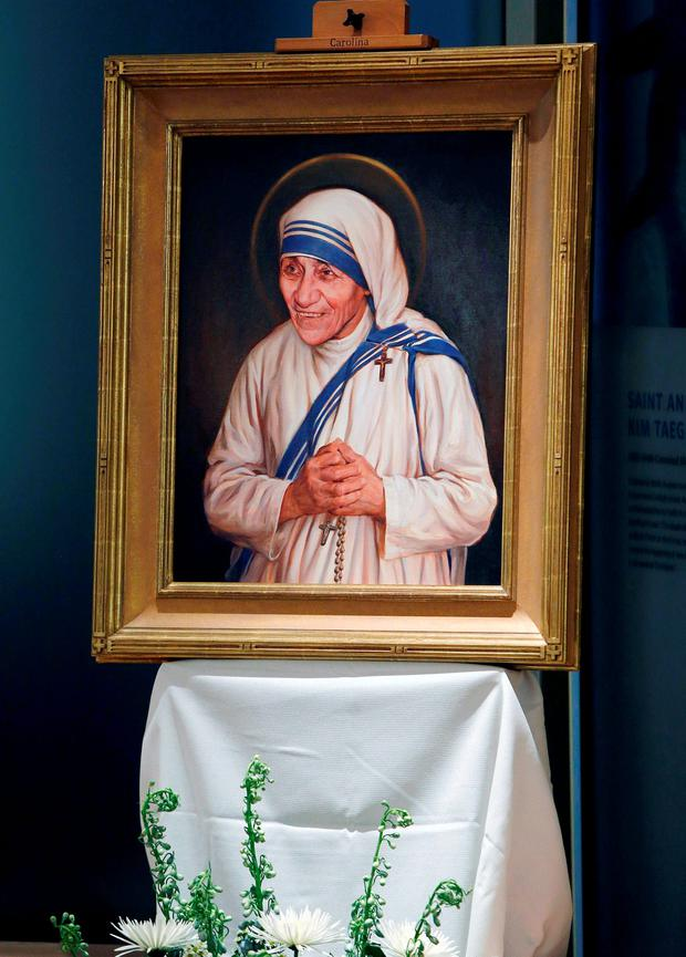 The official canonization portrait of Mother Teresa is seen after its unveiling at the John Paul II National Shrine in Washington, U.S., September 1, 2016