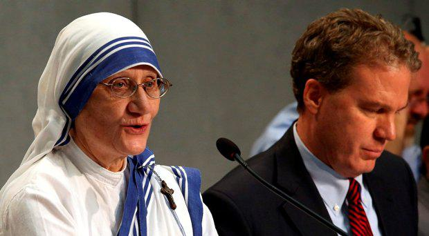 Superior General of the Missionaries of Charity of Calcutta, Sister Mary Prema Pierick speaks during a media conference ahead of the canonisation of Mother Teresa at the Vatican, September 2, 2016