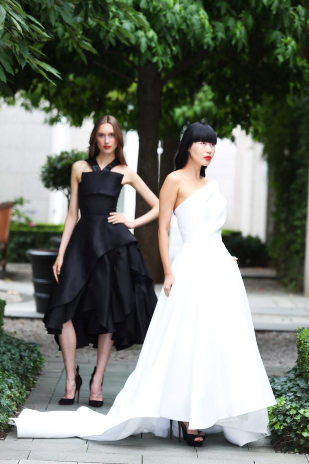 Tabea Weyrauch wears Maticevski Black dress (€4135) and Yomiko Chen wears Maticevski White dress (€4135). Photograph: Leon Farrell / Photocall Ireland