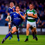 Joey Carbery breaks through the Treviso defence on his way to scoring his and Leinster's second try. Photo: Sportsfile