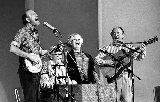 The Weavers perform in a 25th Anniversary reunion concert at Carnegie Hall in New York (AP Photo/Richard Drew, File)