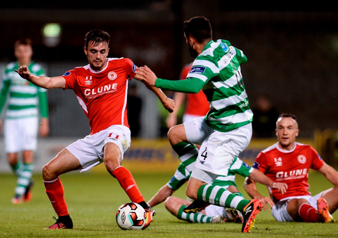 Mark Timlin of St Patricks Athletic in action against David Webster of Shamrock Rovers. Photo: Sportsfile