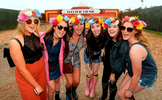 Revellers from Meath at the entrance to Electric Picnic Photo: Caroline Quinn
