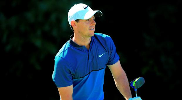 Rory McIlroy reacts on the 15th tee during the first round of the Deutsche Bank Championship at TPC Boston yesterday. Photo: Getty Images