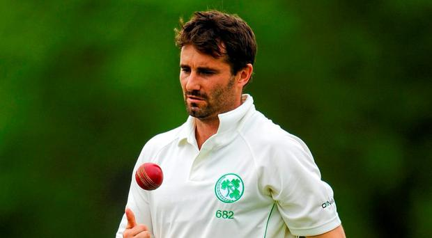 Veteran Middlesex bowler Tim Murtagh removed both openers as the visitors set off in pursuit of 310 to end Ireland's perfect record. Photo: Sportsfile