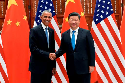 Chinese President Xi Jinping and U.S. President Barack Obama shake hands during their meeting at the West Lake State Guest House in Hangzhou, China September 3, 2016