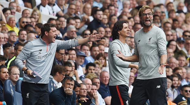 LONDON, ENGLAND - AUGUST 27: (THE SUN OUT, THE SUN ON SUNDAY OUT) Jurgen Klopp manager of Liverpool Zeljko Buvac First assistant coach and Peter Krawietz Second assistant coach during the Premier League match between Tottenham Hotspur and Liverpool at White Hart Lane on August 27, 2016 in London, England. (Photo by John Powell/Liverpool FC via Getty Images)
