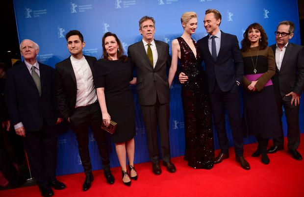 British writer John Le Carre, actor Amir El-Masry, actress Olivia Colman, British actor Hugh Laurie, French actress Elizabeth Debicki and British actor Tom Hiddleston, Danish director Susanne Bier, actor Tom Hollender pose for photographers as they arrive for a sreeening of Berlinale Special Series