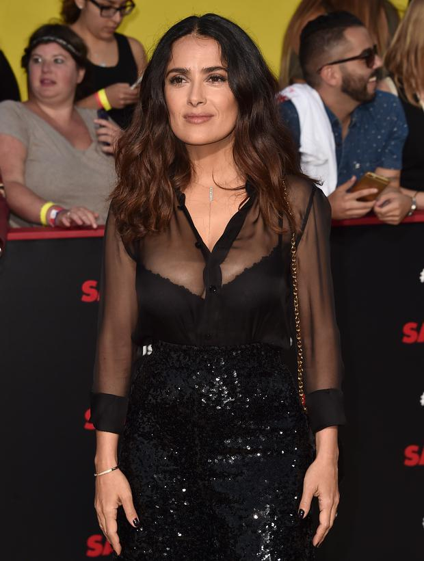 Actress Salma Hayek attends the premiere of Sony's 'Sausage Party' at Regency Village Theatre on August 9, 2016 in Westwood, California. (Photo by Alberto E. Rodriguez/Getty Images)