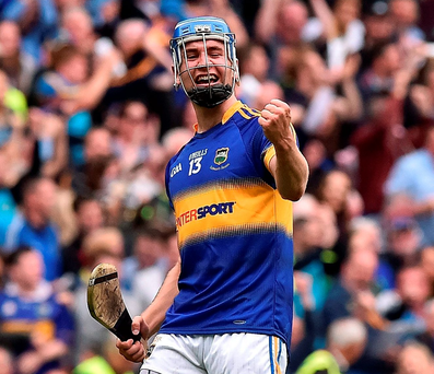 Tipperary's John McGrath celebrates after scoring his side's second goal during the GAA Hurling All-Ireland Senior Championship Semi-Final. Photo: David Maher/Sportsfile