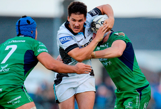 Glasgow Warriors' Sam Johnson is tackled by Connacht's Nepia Fox-Matamua and Eoin McKeon. Photo: Seb Daly/Sportsfile
