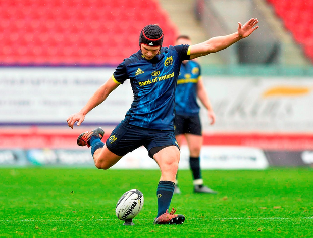 Munster's Tyler Bleyendaal kicks a conversion. Photo: Huw Evans/Sportsfile