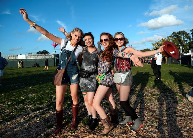 Aisling Kells, (21), from Cavan, Karina McLoughlin, (20), from Laois, Hannah Kearon, 20, Offaly, and Lauren Heffernan, (21), from Kildare, enjoying Electric Picnic. Electric Picnic Festival - Friday. Stradbally, Co. Laois. Picture: Caroline Quinn