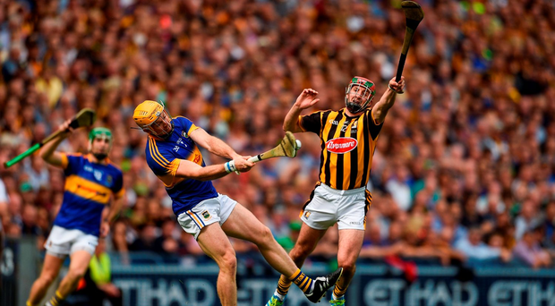 Pádraic Maher of Tipperary in action against Eoin Larkin of Kilkenny during the GAA Hurling All-Ireland Senior Championship Final