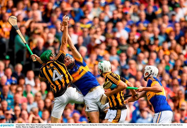 Shane Prendergast of Kilkenny in action against John McGrath of Tipperary during the GAA Hurling All-Ireland Senior Championship Final match between Kilkenny and Tipperary at Croke Park in Dublin. Photo by Stephen McCarthy/Sportsfile